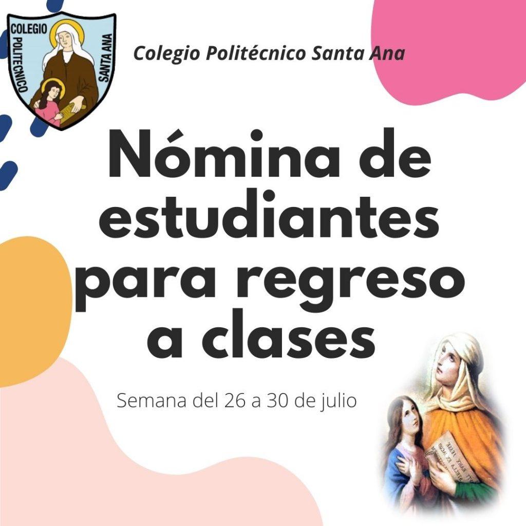Nómina de Estudiantes para regreso a clases semana del 26 al 30 de Julio