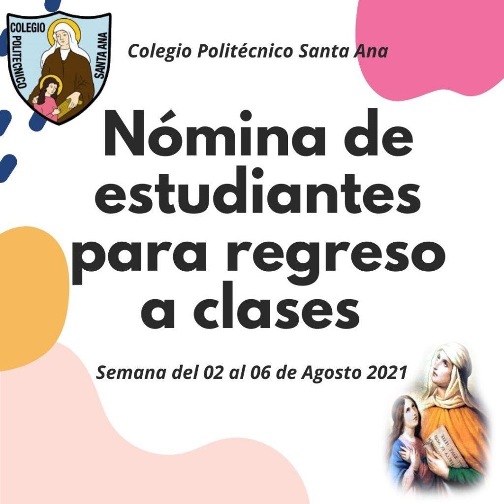 Nómina de Estudiantes para regreso a clases presenciales semana del 02 al 06 de Agosto