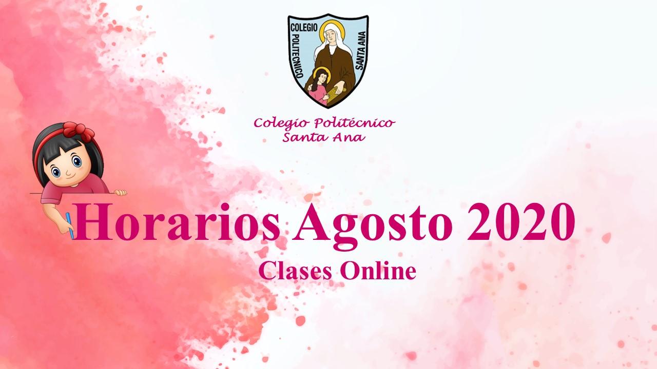 Horarios Agosto 2020 – clases online