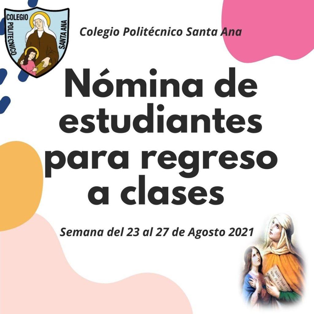 Nómina de Estudiantes para clases presenciales semana del 23 al 27 de Agosto