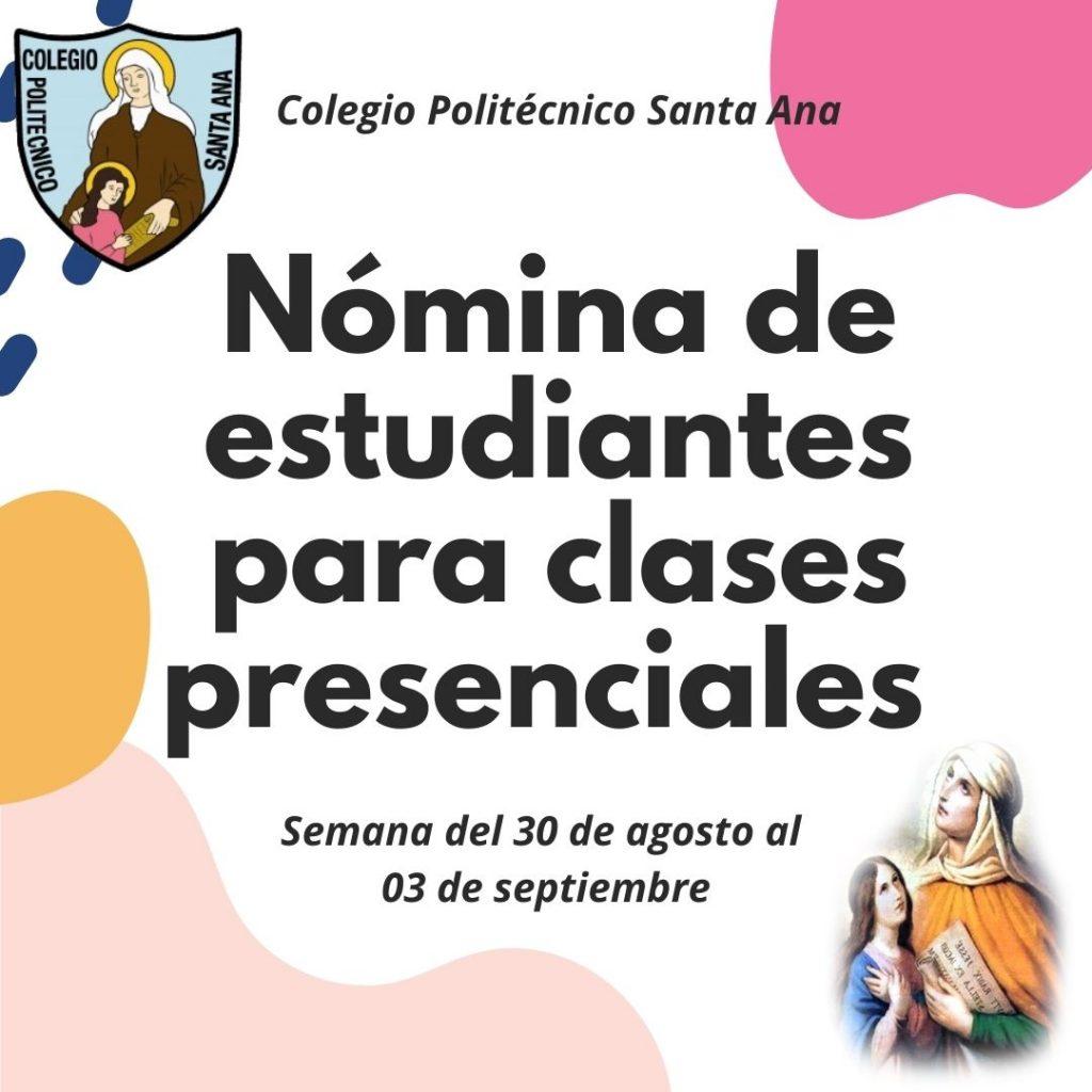Nómina de Estudiantes para clases presenciales semana del 30 de agosto al 03 de septiembre.