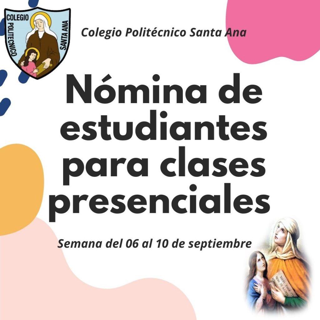 Nómina de Estudiantes para clases presenciales semana del 06 al 10 de septiembre